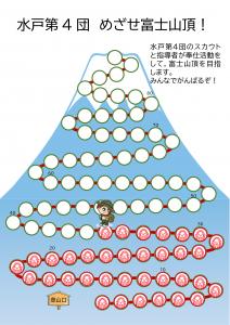 奉仕の数だけ富士登山のマス目が増えます。今35マス目